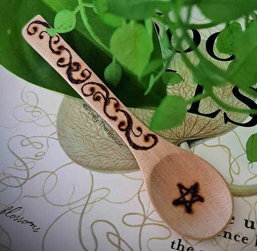 Wooden Altar Spoon with Filigree Pentagram Design
