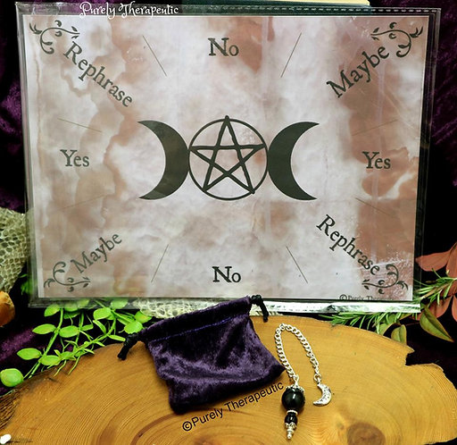 Purely Therapeutic Pentagram Triple Moon Pendulum and Pendulum Ouija Board