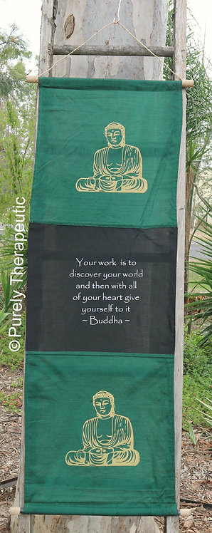 Green Flag Wall Scroll Inspirational Quote Buddha