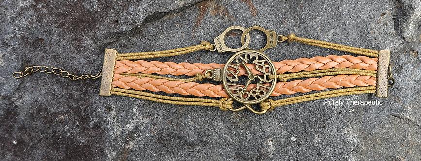 Time piece clock face wristband bracelet