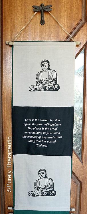 Large White Buddha Flag