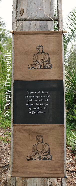 Buddha Inspirational Quote Wall Scroll Flag Earth Brown
