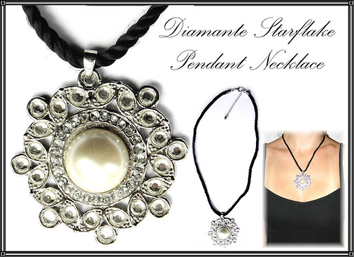 Diamante Star Flake Pendant Necklace