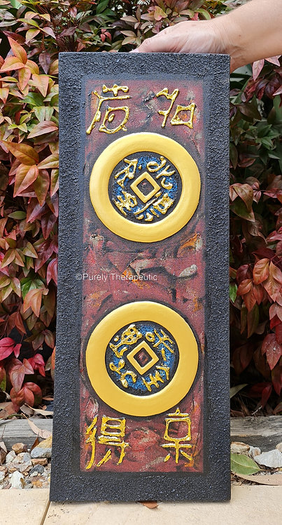 wall hanging double feng shui coin canvas for good luck and prosperity