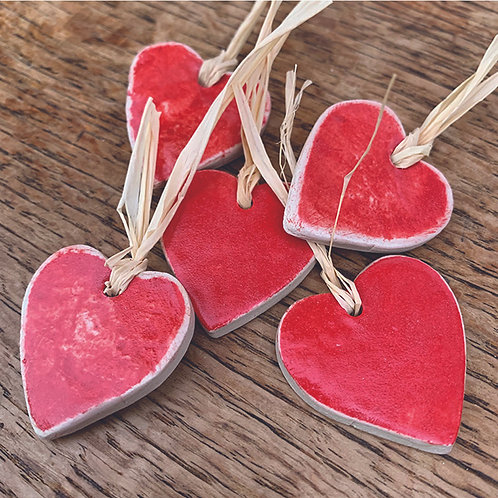 10 x Ceramic Red Hearts - Trinkets/Gift Tags/Love Tokens