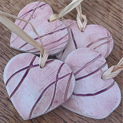 10 x Lilac Leaf Hearts - Trinkets/Gift Tags/Love Tokens