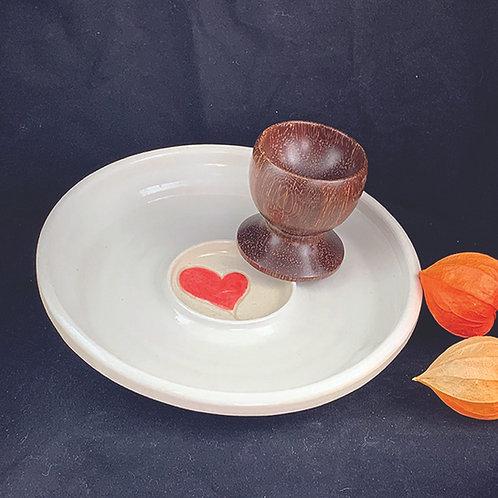 Egg Cup & Ceramic Heart Dish