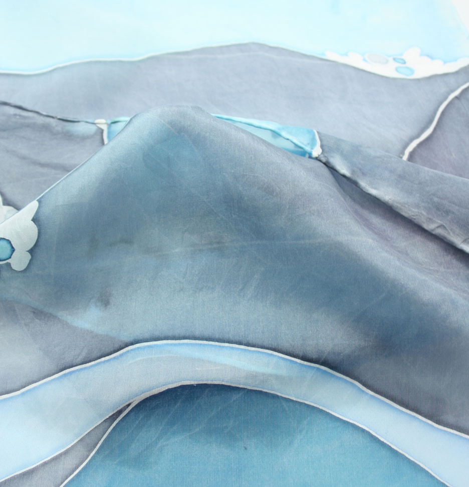 Scarf painted in sea colours featuring the Blended Monkey seascape design