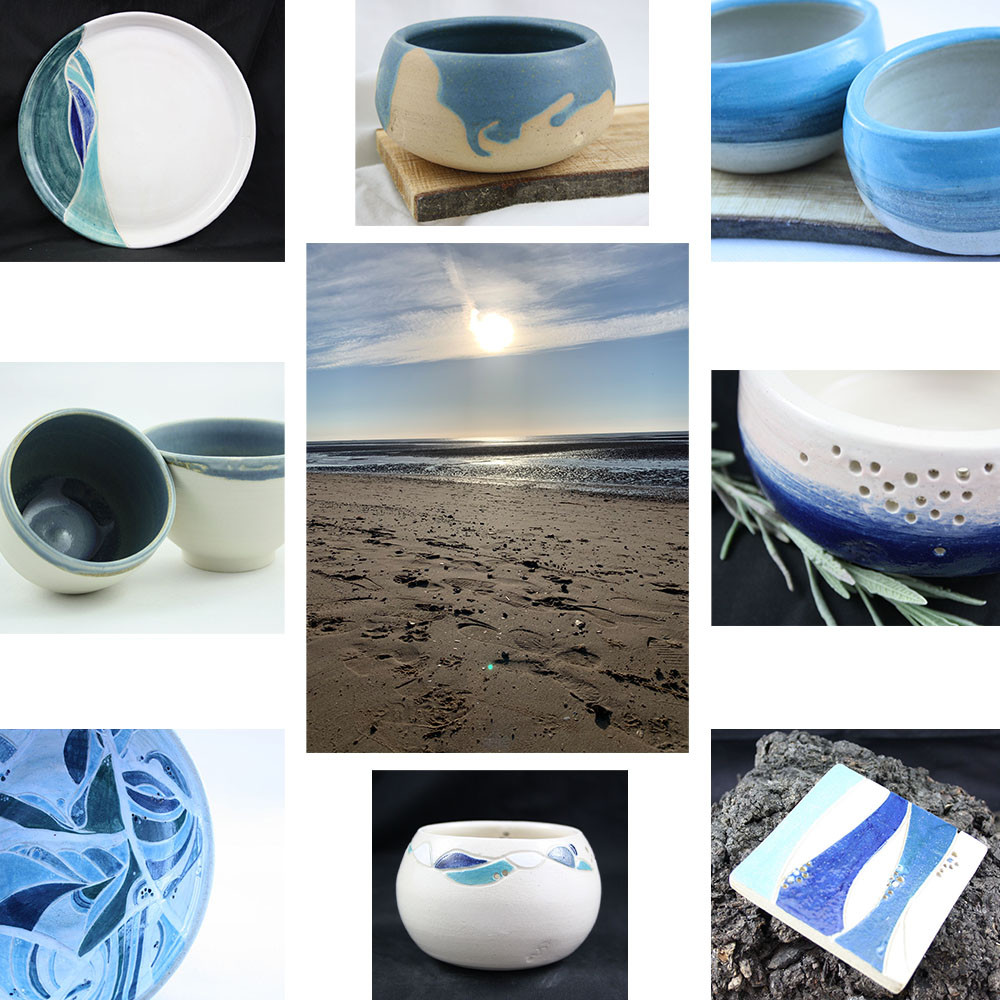 Sun setting on the beach surrounded by some of our seascape pieces