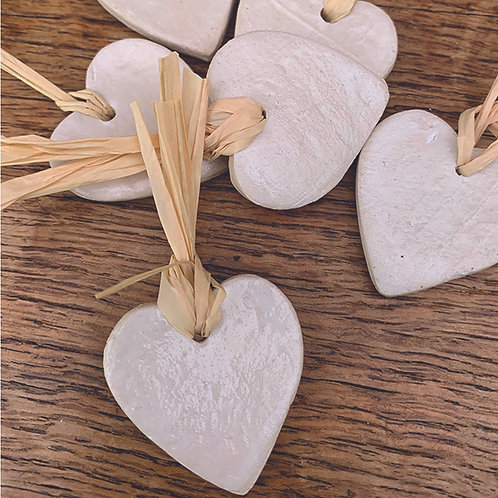 10 x White Hearts - Trinkets/Gift Tags/Love Tokens