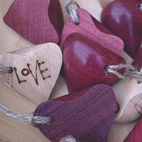 Wooden Love Half Hearts