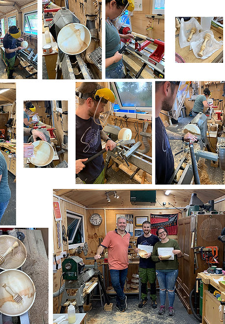 Sarah and Robin enjoyed their woodturning workshop with Simon at Blended Monkey
