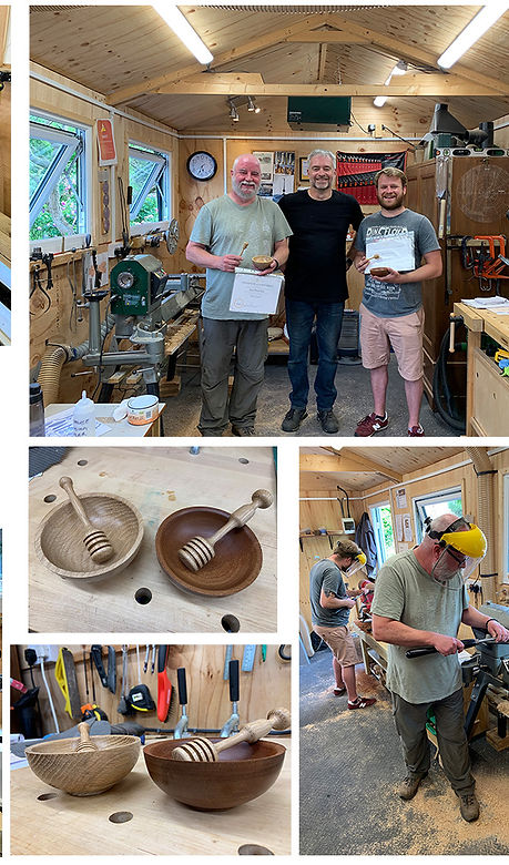 Father and son have fun in the woodturning workshop at Blended Monkey