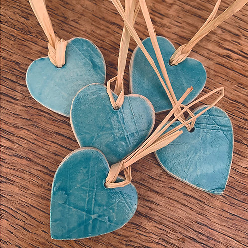 10 x Turquoise Hearts - Trinkets/Gift Tags/Love Tokens