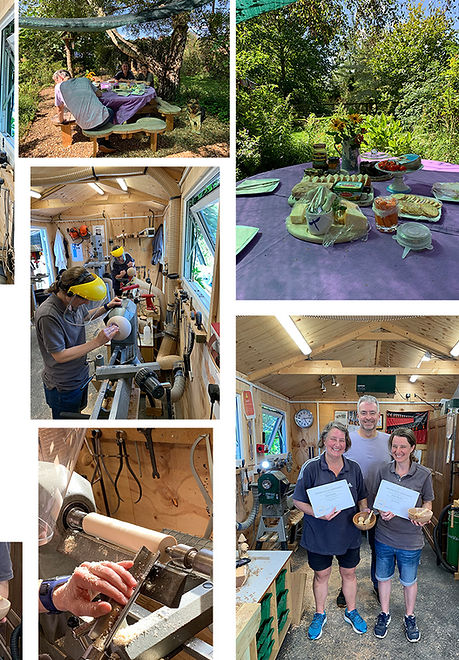 Annie and Kim enjoyed woodturning at Blended Monkey