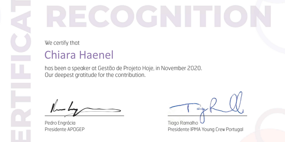 certificate of recognition APOGEP