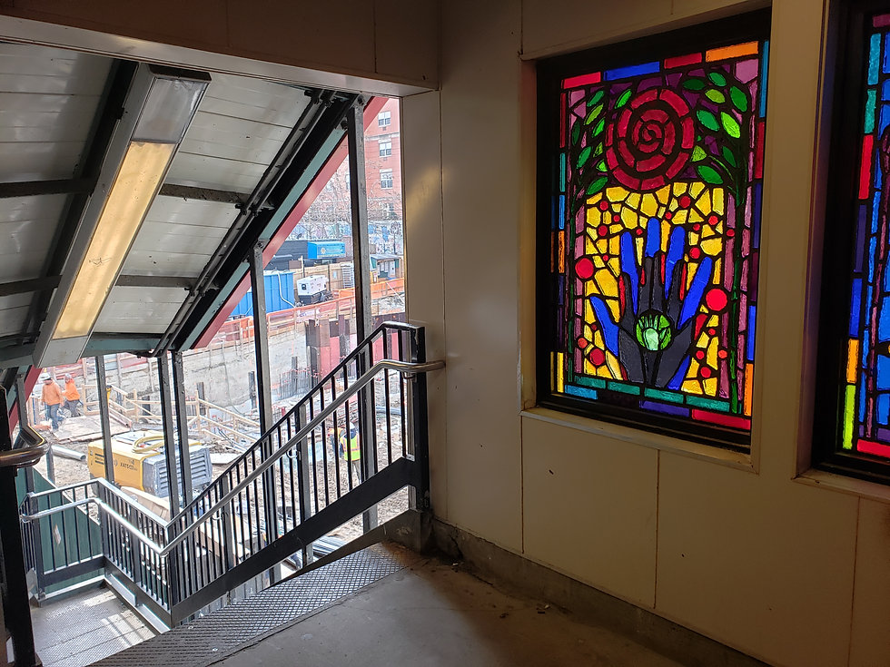 Stained glass window in New York City subway station