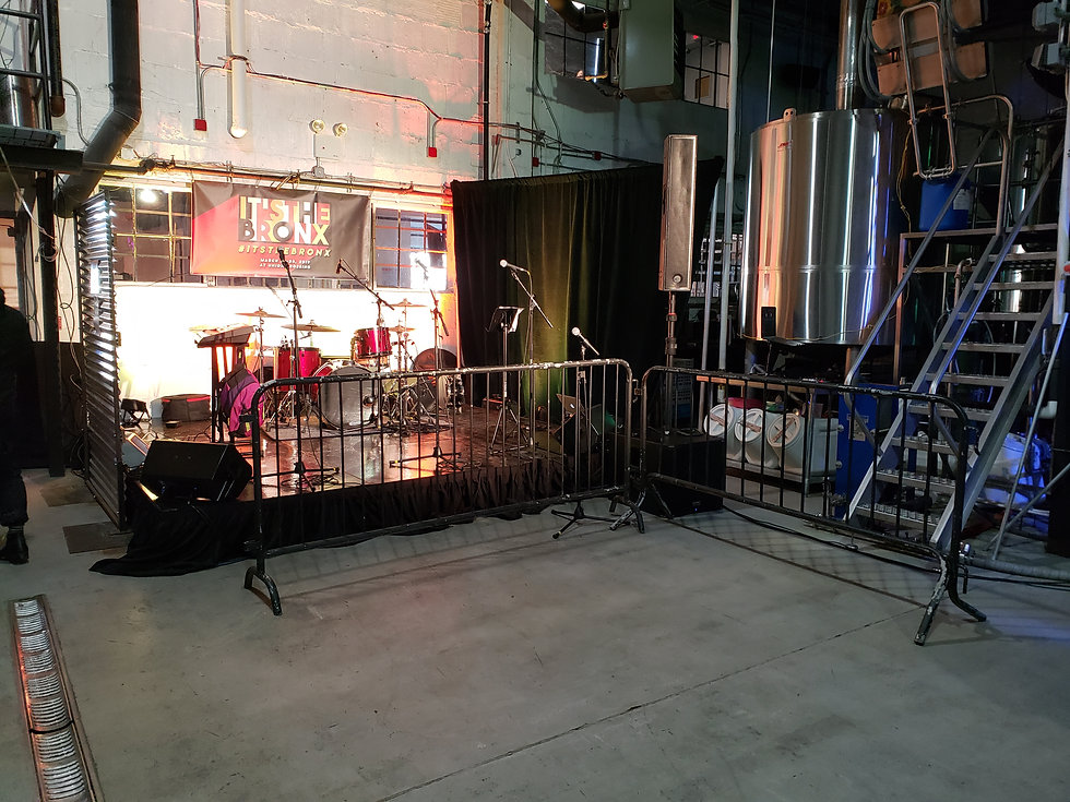 Stage set up for a music event in the Bronx