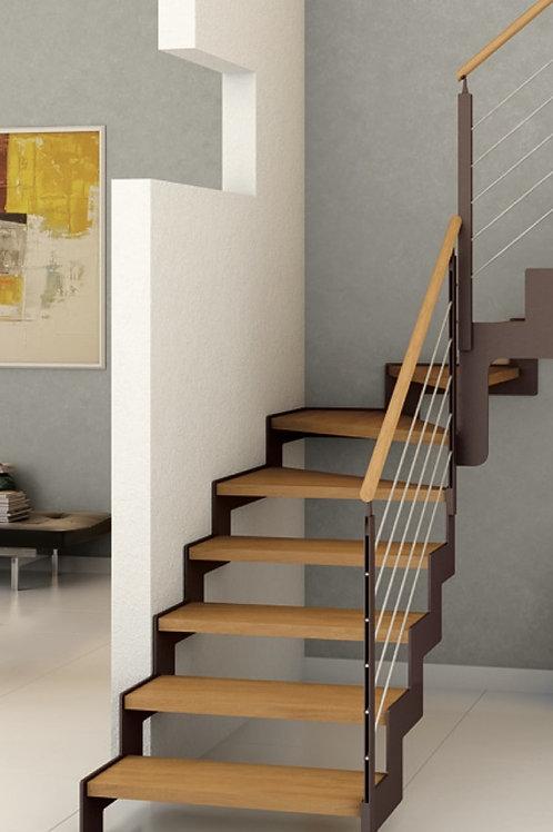 escalier crémaillère quart-tournant marche en bois garde-corps acier