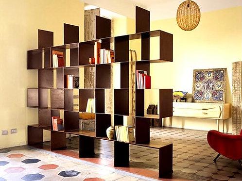Bibliothèque décorative en acier Corten, brut ou inox et teinté