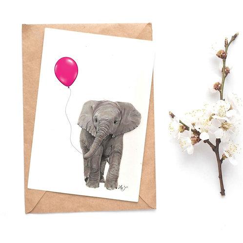 Elephant - Pink Balloon