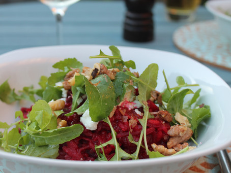 Beetroot Risotto with Walnuts and Goat's Cheese