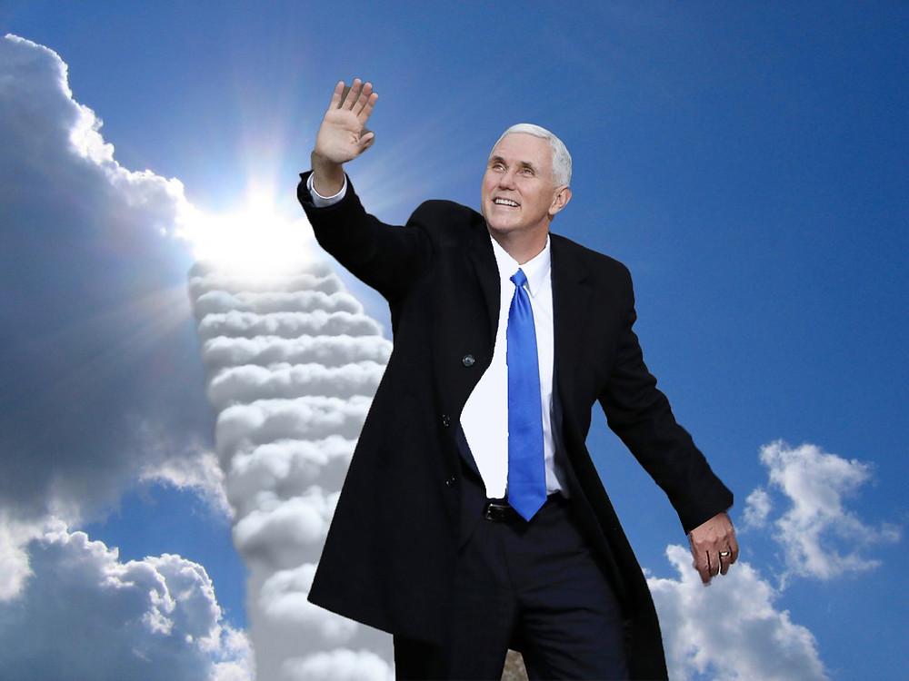 Mike Pence waving, Heaven, God, Sky
