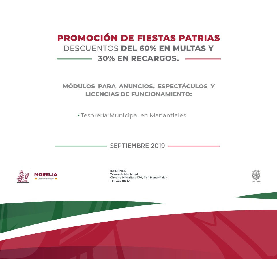 Tesorería Morelia Ofrecerá Descuentos Por Septiembre En