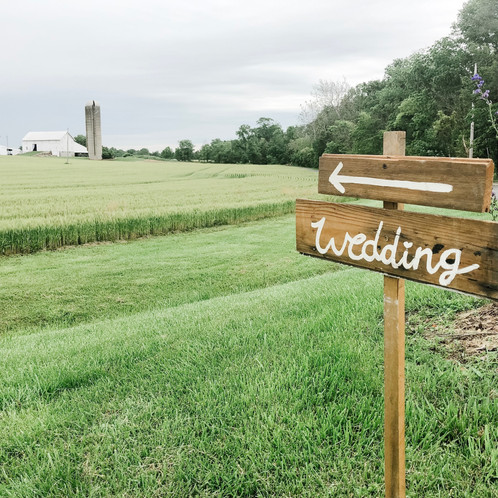 Wedding sign by road