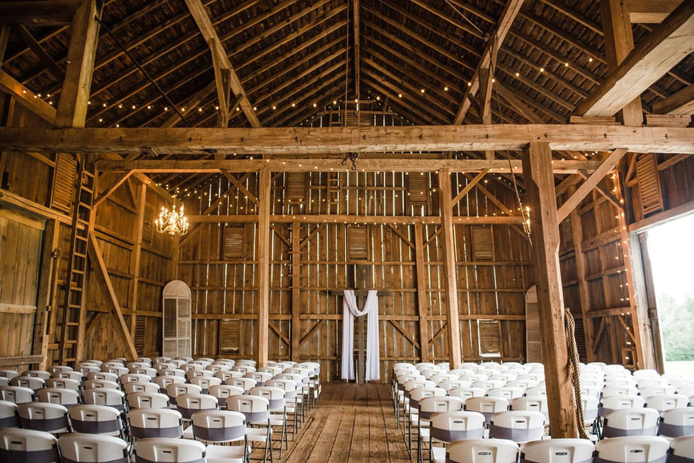 Barn interior set up for ceremony