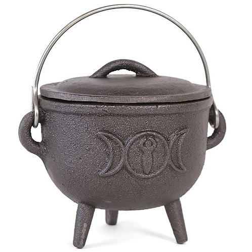 11CM CAST IRON CAULDRON WITH TRIPLE MOON