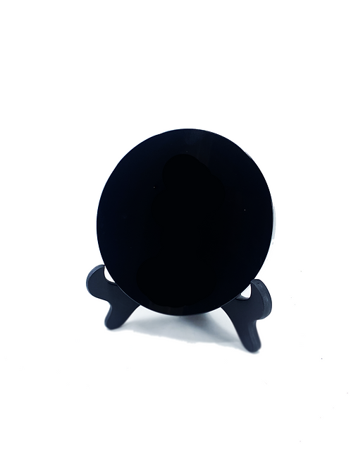OBSIDIAN SCRYING MIRROR WITH STAND