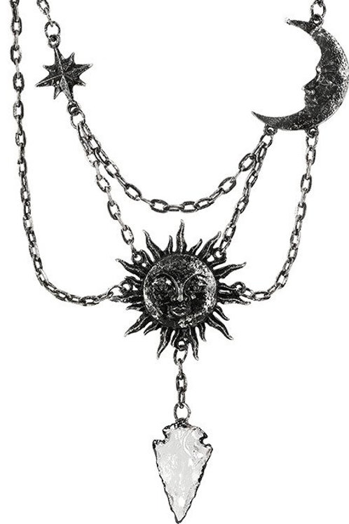RESTYLE MOON & SUN SILVER NECKLACE