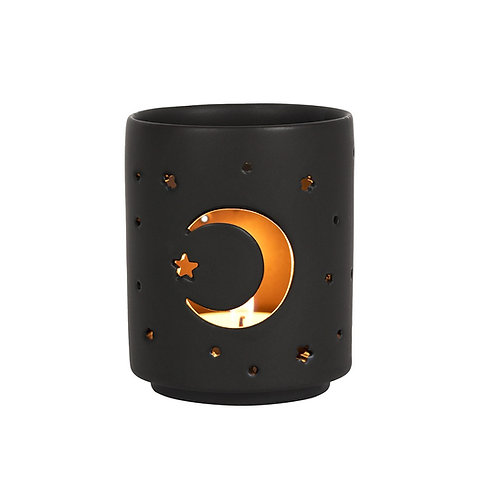 SMALL BLACK MYSTICAL MOON CUT OUT TEALIGHT HOLDER