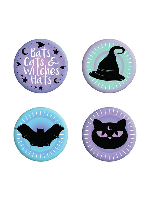 BATS, CATS 6 WITCHES HATS, PASTEL GOTH BADGE PACK