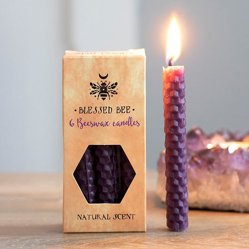 PACK OF 6 PURPLE BEESWAX SPELL CANDLES - PROSPERITY