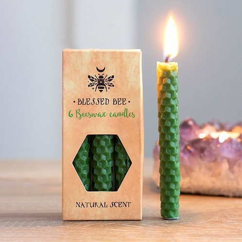 PACK OF 6 GREEN BEESWAX SPELL CANDLES - LUCK