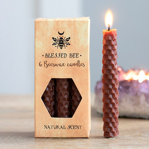 PACK OF 6 BROWN BEESWAX SPELL CANDLES - EARTH MAGICK