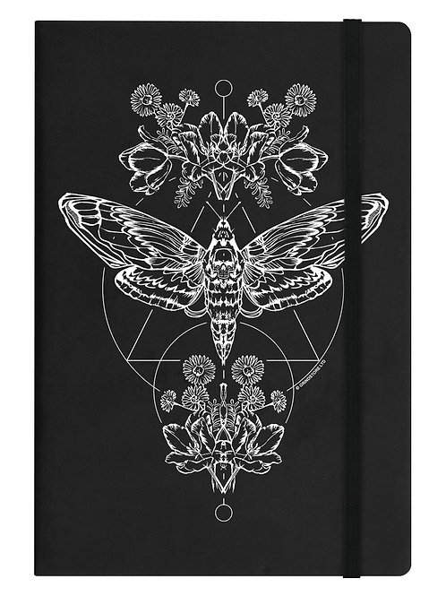 DEATH HEAD MOTH BLACK - A5 HARD COVER NOTEBOOK
