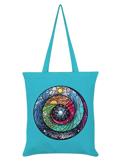 STAINED GLASS SPECTROSCOPE, AZURE BLUE TOTE BAG