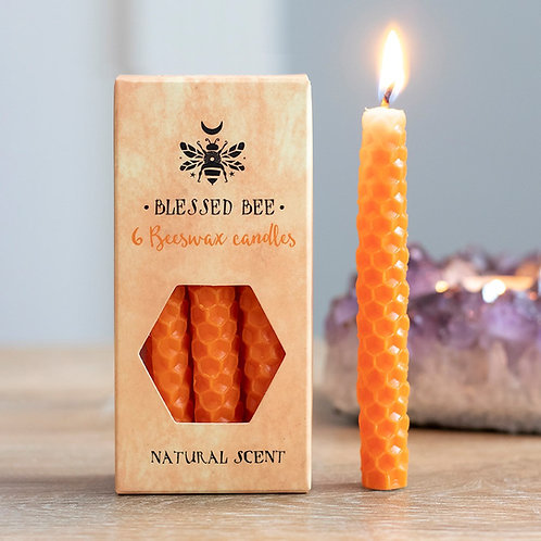 PACK OF 6 ORANGE BEESWAX SPELL CANDLES - CONFIDENCE