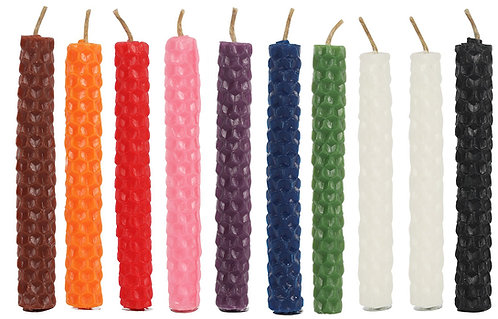 SET OF 10 BEESWAX SPELL CANDLES - MIXED