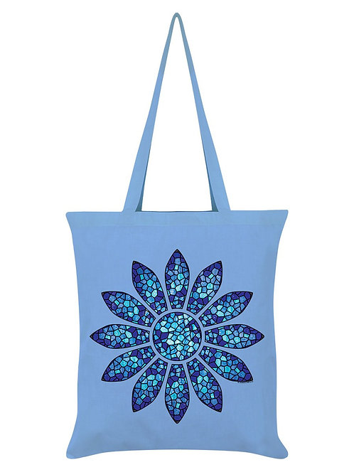 STAINED GLASS FLOWER,  BLUE TOTE BAG