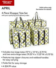 4 Pc Shopper Tote Set