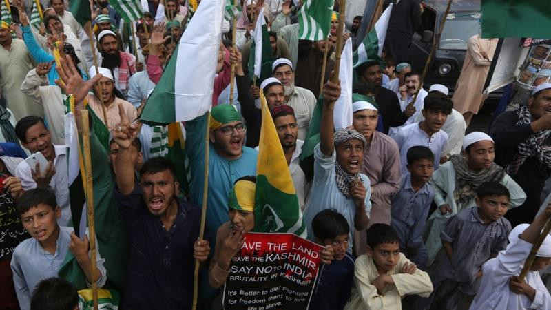 The march marked the first anniversary of India's controversial decision to revoke the disputed Indian-administered Kashmir region's semi-autonomous status [File: Fareed Khan/AP]