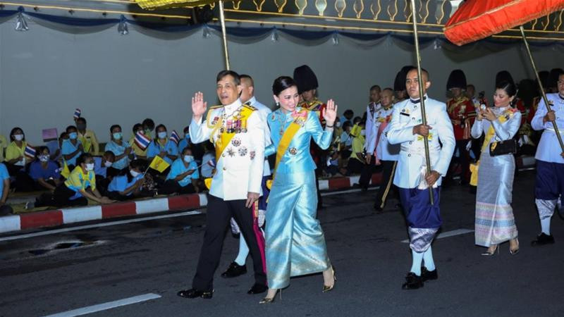 The ceremony on Wednesday marked the king's first public appearance since the nearly unprecedented calls for reforms in the monarchy emerged last week [Thailand Royal Household Bureau/Handout via Reuters]