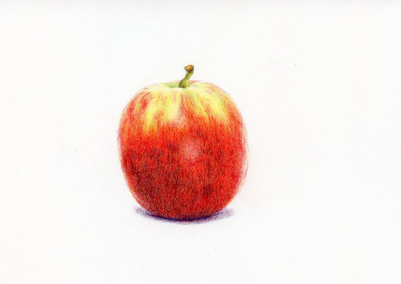 Step by step drawing an apple with 3 primary colours