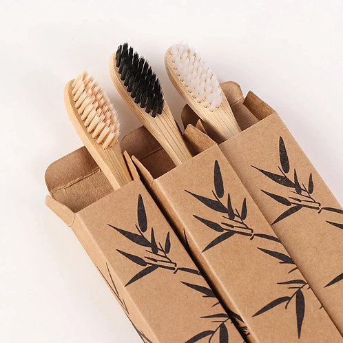 3 PC Wooden Toothbrush Solid Bamboo Handle Soft Fibre Eco-Friendly Teeth Brushe