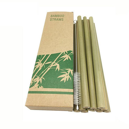 10Pcs/Set Natural Bamboo Reusable Drinking Straws with Case + Cleaner Brush