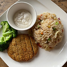 "E14. Crispy ""Pork Chop"" with Mix Vegetable Fried Rice"